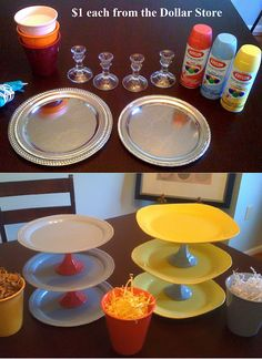 DIY Cupcake Display. The bottom plate should be the biggest, and the top plate should be the smallest. The middle plate should be about regular size for a plate....