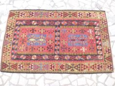 Small Colorful Kilim Area Rug Woven Ethnic by SophiesBazaar, $735.00