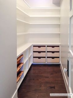To make the pantry more organized you need proper kitchen pantry shelving. There is a lot of pantry shelving design ideas. Pantry Room, Walk In Pantry, Small Pantry Closet, Hidden Pantry, Built In Pantry, Corner Pantry, Pantry Organization, Organized Pantry, Organizing Ideas