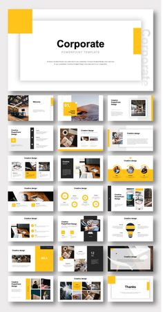 Yellow Blue Professional Corporate Clean PowerPoint Template – Original and High Quality PowerPoint Templates Business Presentation Templates, Corporate Presentation, Presentation Design Template, Good Presentation, Layout Template, Simple Powerpoint Templates, Professional Powerpoint Templates, Business Proposal, Design Graphique