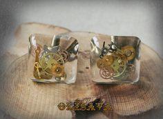 Steampunk Cufflinks   Square Resin Cabochons Bronze by Olisava