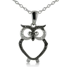 Trendy Black Diamond Owl Necklace in Sterling Silver by SuperJeweler - See more at: http://blackdiamondgemstone.com/jewelry/necklaces/chains/trendy-black-diamond-owl-necklace-in-sterling-silver-com/#!prettyPhoto