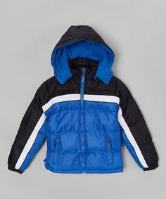 Royal Blue & Black Stripe Puffer Coat - Boys