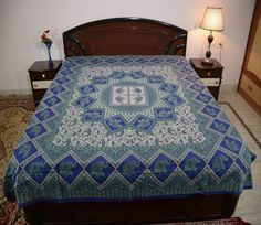 Cotton Double Square Elephant Handlook Print Blue Color Bedsheet N Bed Cover #uttam #Transitional