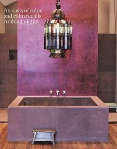 Design Ideas : Purple Bathroom Design Ideas With Stone Wall And Bathtub And Chandelier And Wooden Floo... Moroccan Design, Moroccan Decor, Moroccan Style, Moroccan Bathroom, Purple Bathrooms, Purple Rooms, Red Rooms, Luxury Bathrooms, Small Living Room Design