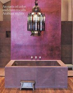 Design Styles, Decorating Ideas | 33 Cool Purple Bathroom Design Ideas----  LOVE the texture and love the light fixture.