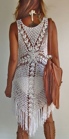 Cross Crochet Boho Dress with long Fringe/ White or by SpellMaya