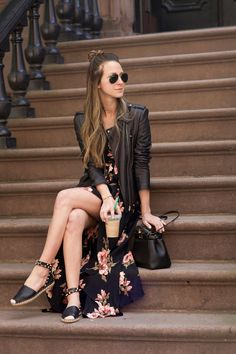 Dress: Reformation / Shoes: Valentino / Jacket: Theory / Sunnies: Ray Ban / Bracelet: Jennifer Fisher / Necklace: Stephanie Gottlieb