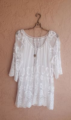 Bohemian vintage lace and crochet sheer tunic beach by BohoAngels, $80.00