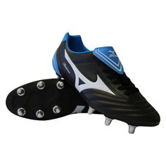 brand new bfc00 7b514 Mizuno Fortuna 4 SG Rugby Boots Black White Blue - Rugby City Rugby  Equipment