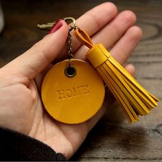 Leather Tassel Keychain Personalized Leather Keychain by Leather Tassel Keychain, Leather Earrings, Leather Jewelry, Leather Gifts, Leather Craft, Leather Bag, Crea Cuir, Sacs Tote Bags, Diy Keychain