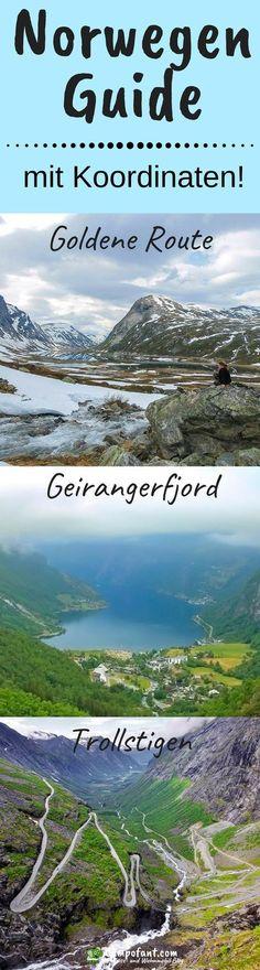 In diesem Norwegen Guide mit Koordinaten nehmen wir dich mit auf die Goldene Route. Durch atemberaubend schöne Landschaften geht es bergauf und bergab zum Geirangerfjord. Gekrönt wird das Ganze dann von der Abfahrt über den Trollstigen, Norwegen spektakulärste Straße. Erlebe diesen tollen Teil Norwegens und nutze unseren Guide mit Koordinaten für deine eigene Norwegen Reise. #norwegen #guide #koordinaten #trollstigen #geirangerfjord #goldeneroute