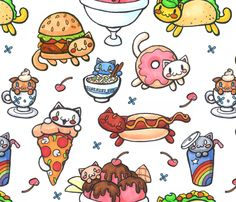Fabric print - Catfood (larger) fabric by klawzie on Spoonflower - custom fabric