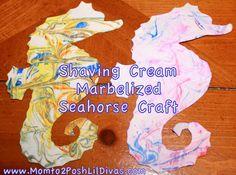 Mom to 2 Posh Lil Divas: Shaving Cream Marbelized Mister Sea Horse Craft (Eric Carle)
