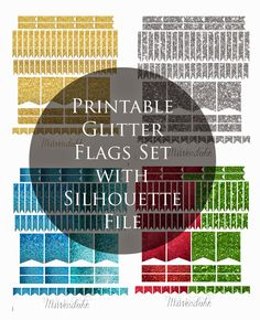 MsWenduhh Planning & Printable: Glitter Flags Stickers Set (Gold, Silver, Blue, Re. Passion Planner, Life Planner, Happy Planner, Bujo, Planner Supplies, Planner Ideas, Printable Planner Stickers, Free Printables, Planner Pages