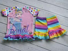 Handmade Girls Upcycled Ruffled Raglan and Ruffled Shorts- SIze 2T– Cinderella and Stripes