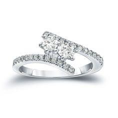 Auriya 14k Gold 1ct TDW 2-Stone Round Cut Diamond Engagement Ring (J-K, I1-I2) (White Gold - Size 5.5), Women's
