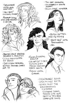 """piedpica: """" If you liked Horrible Elves™ then you'll love Horrible Elves 2: Son of Horrible Elves. Sons. Anyway. Featured headcanons: • SAT prep interlude: as Curufin : Fëanor :: Maedhros : Nerdanel •..."""