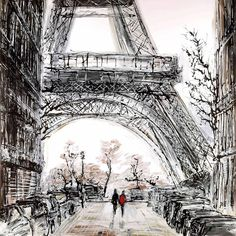 Paris In Fall by Paul Kenton - Landscape Paintings & fine art pictures available in our gallery - Free delivery on all orders over Watercolor Architecture, Architecture Art, Paul Kenton, Art Parisien, A Level Art Sketchbook, Art Folder, Paris Art, Urban Sketching, Autumn Art