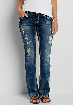 DenimFlex™ bootcut marbled jeans with destruction   maurices