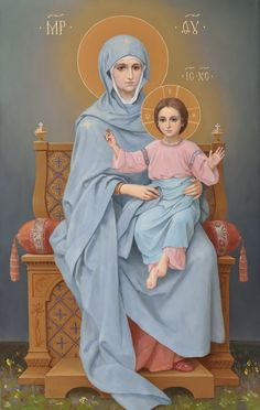 Пресвятая Богородица на Престоле, икона в академическом стиле