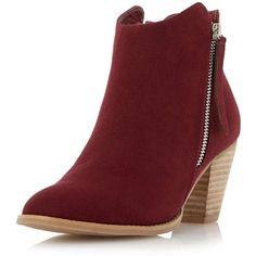 Dorothy Perkins **Head Over Heels 'Patel' Zip Ankle Boots ($70) ❤ liked on Polyvore featuring shoes, boots, ankle booties, red, western booties, short boots, ankle cowgirl boots, cowboy boots and cowboy booties