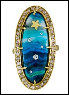 Andrea Fohrman - Diamond and Chrysocolla Shooting Star Ring in Designers Andrea Fohrman Rings at TWISTonline Diamond Ice, Halo Diamond, I Love Jewelry, Fine Jewelry, Opal Jewelry, Jewellery, Party Rings, Sun And Stars, Star Ring
