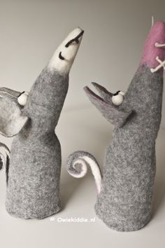 A tale of two clever mice. Felt Mouse, Felting, I Shop, Om, Dinosaur Stuffed Animal, Clever, Cute, Animals, Products