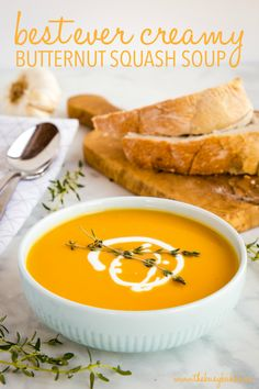Creamy One Pot Butternut Squash Soup (Vegan) - The Busy Baker - - This Creamy One Pot Butternut Squash Soup is so easy to make and it's the perfect comforting soup for fall! And it's healthy, dairy-free, and vegan too! Best Soup Recipes, Fall Recipes, Vegan Recipes, Cooking Recipes, Favorite Recipes, Cheap Recipes, Vegan Squash Recipes, Healthy Delicious Recipes, Healthy Winter Recipes