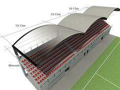 Sistema de cubrición de gradas deportivas con cubierta curva autoportante INCO 70.4, por INCOPERFIL