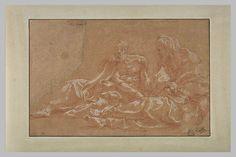 Le Primatice: 2 vieillards drapés, tournés vers la gauche et assis à terre, Le Louvre