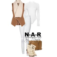 """""""1. Kera Suede Gilet  2. Feliece Bodysuit-White 3. White High Waist Jeans  All Available NewAgeRebel.com  Shoes by Giuseppe Zanotti  Bag by Chanel"""""""