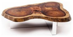 Tamburil Slab Coffee Table - Cross Base - contemporary - Coffee Tables - Miami - Rotsen Furniture