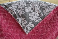 Gray Elegance Damask with Hot Pink Swirl by DesignsbyChristyS, $30.00