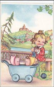 Little girl knitting with blue yarn, babysitting toddlers in buggie, By the river side, Mabel Lucie attwell? Images Vintage, Vintage Artwork, Vintage Children's Books, Vintage Pictures, Vintage Cards, Vintage Postcards, Vintage Prints, Vintage Illustrations, Vintage Knitting