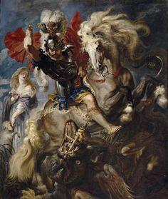 Museo Nacional del Prado: Pedro Pablo Rubens. Lucha de San Jorge y el dragón. 1606-1608.