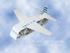 Hershey's Airplane Tutorial   Hershey's Kisses, Favors, Airplane, Plane, Stampin' Up, Work of Art Stamp Set, Labeler Alphabet, Simply Scored, Scoring, Qbee's Quest, Brenda Quintana