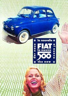 Nieuw Binnen Fiat 500 La Nuova metalen bord  metalen borden/metal signs formaat : 21 cm x 15 cm voorzien van ophang haakje Een mooi geschenk voor uzelf of om cadeau te geven ....