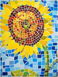 Paper Mosaic Sunflower - art - fun…easy…free…can also do this with other things and ON other things. Coat with Modge Podge! Paper Mosaic, Mosaic Crafts, Mosaic Projects, Mosaic Ideas, Art Macramé, Bd Art, Papier Kind, Arte Elemental, Easy Mosaic