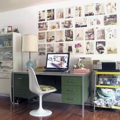 White Tulip Chair & Vintage desk.  I know where I can find both.