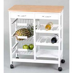 Este es el complemente perfecto para tu cocina. Este bonito Carro de Cocina en color blanco con la parte superior en madera será el mueble perfecto para guardar tus frutas y verduras.