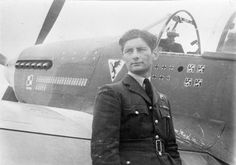 Squadron Leader Eugeniusz Horbaczewski, Officer Commanding No. 315 Polish Fighter Squadron, standing by his new North American Mustang Mark III, FB387 'PK-G, at Brenzett, Kent. He was shot down and killed on 18 August 1944, after destroying three Focke Wulf Fw 190s to bring his score to 16 and a half victories. 1944-08-02