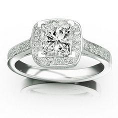 0.73 Carat Princess Cut/Shape 14K White Gold Classic Square Halo Single Row Pave Set Diamond Engaement Ring ( D-E Color , SI2 Clarity ) Chandni Jewels,http://www.amazon.com/dp/B00BVPXLKY/ref=cm_sw_r_pi_dp_Hm0ysb1T7EHCSYH3