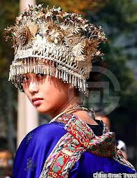 Image result for traditional Miao head dress and clothing