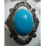 925 Sterling Silver Turquoise Ring with Marcasite Stone