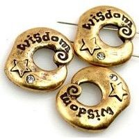 3 light gold wisdom 2 hole slider beads 10164