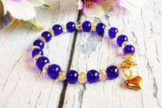 $27.60 Unique Summer Bracelet Cobalt Blue and Yellow Citrine Gemstone Beaded Bracelet by BlueWorldTreasures.Etsy.com Use #discountcode PIN10 for 10% off in my shop