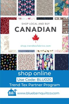 Have you checked out shop.trendtexfabrics.com yet? TrendTex carries some of your favourite brands including Moda, Hoffman California, RJR, Benartex, Lewis & Irene, Stof and Michael Miller! When you make a purchase at shop.trendtexfabrics.com and enter our code BLU020 we receive a portion of each sale! They have thousands of fabrics available online! Happy quilting!  #quiltinginCanada #fabriclove #canadianquiltshop #sewcanadian #onlinequiltshop #onlinequiltstore #onlinefabricshop