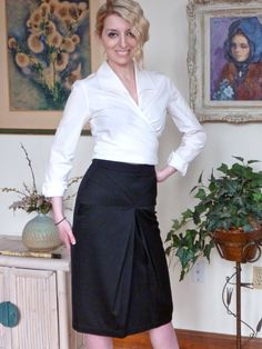 1990s Ungaro Black Gabardine Pencil Skirt by PublicCoutureLtd, $100.00
