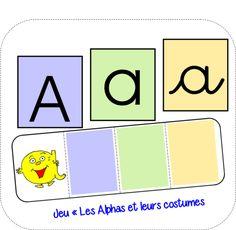 """Un nouveaujeu avec les Alphas dans lequel il faut associer chaque Alpha avec son costume enmajuscule, en minuscule scripte et en cursive. Jeu """"Les Alphas et leurs costumes"""" Cartes lettres dans les"""